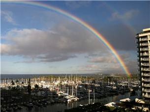 Rainbows to Sunsets, Ala Moana Beach Park Surf Breaks, Honolulu Harbor and Airport Views